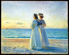 Michael Anchers (1849-1927) to kvinder på stranden ved Skagen