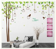 YYone Sweet Memory Character Tree and Green Leafs of Nine Picture Frame and Two Birds for Home Wall Decor