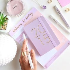 bright color - 2015 lilac planner paired with a matching notebook + chanel perfume, amethyst necklace + succulent plant Moda Instagram, Instagram Feed, Instagram Posts, Flat Lay Photography, Photography Tips, Blogging, Chance Chanel, Accessoires Iphone, Chanel Perfume