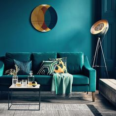 Top Choices of Teal Living Room Decor Teal Velvet Sofa Teal Walls Teal Velvet - kindledecor Teal Living Rooms, Living Room Styles, Living Room Modern, Living Room Sofa, Living Room Designs, Living Room Decor, Dark Blue Walls, Teal Walls, Green Walls