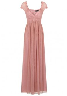 Little Mistress Lace Empire Maxi Dress in Rose