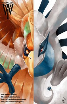 Ho-Oh and Lugia Legendary Split - Heart Gold & Soul Silver - Pokemon - 11 x… Pokemon Fan Art, All Pokemon, Pokemon Fusion, Pokemon Cards, Lugia, Pichu Pokemon, Pikachu, Charmander, Character Art