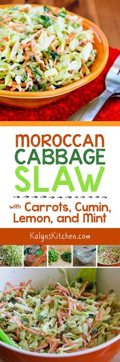 Moroccan Cabbage Slaw with Carrots, Cumin, Lemon, and Mint found on KalynsKitchen.com