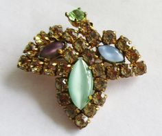 Vintage Gold Tone Brooch Rhinestone Green Crystal Lucite Beads ! by UnderTheBaobobTree on Etsy