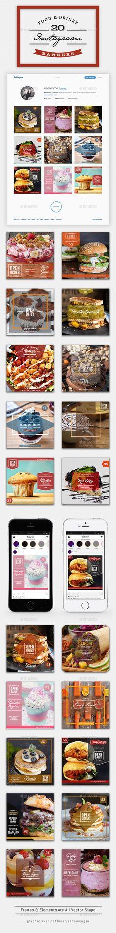 20 #Instagram Food & Drinks - #Social Media #Web Elements