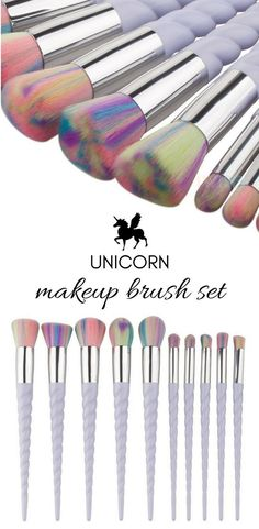 A magical brush set with pearlescent, twisted handles and pastel, multi-colored bristles designed for all your blending and buffing needs. This professional 10-piece set is both delightful and practical.  Lovingly crafted with delicate, unicorn inspired h