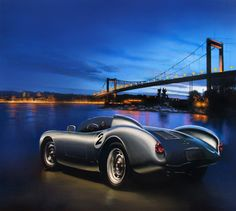 """Porsche 550 Spyder at blue night"" Oil on linen canvas 140x160 cm."