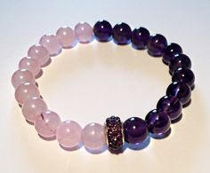 Rose quartz and amethyst bracelet with Swarovski, rose quartz and purple amethyst bracelet,