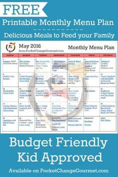 Delicious meals to feed your family in the Printable May Monthly Menu Plan! Budget friendly meal plan - Kid approved! Print out your FREE copy today!
