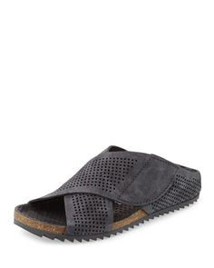 Alena Perforated Slip-On Sandal, Coal by Pedro Garcia at Neiman Marcus.