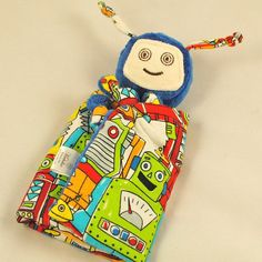 Robot Baby Toys | Robot Lovey Blanket, Soft Baby Toy, Blue Minky Robot Blankie for a ...