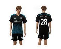 Chelsea Third  28 Azpilicueta Soccer Jerseys 14-15 Season Black e833a4111