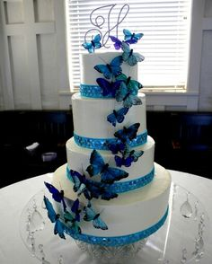 My butterfly adorned wedding cake :-) Wedding Cakes With Flowers, Cool Wedding Cakes, Wedding Cake Designs, Butterfly Wedding Theme, Cupcake Cakes, Cupcakes, Bolo Floral, Quince Cakes, Quince Decorations