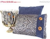 ON SALE Pillow Cover Paisley Print, Deep Blue,  Light Blue, Gray , Silver and trimmed in Deep Blue Chenille Fabric