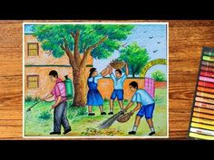 """Hellow friends this painting is on subject """"SWACHH BHARAT ABHIYAN """".this painting is specially school students, who are going to participate drawing competit. Beautiful Scenery Drawing, Drawing Scenery, Shading Drawing, Composition Painting, Oil Pastel Drawings, Fish Drawings, Art Drawings For Kids, Clean India Posters, Earth Day Drawing"""
