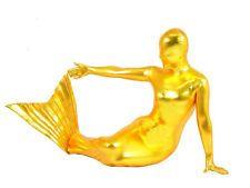 Unisex Fullbody Gold Metallic Lycra Spandex Mermaid Bodysuit Zentai Suit S-XXL