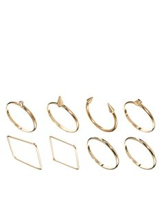 Image 1 of ASOS Fine Shapes Ring Pack