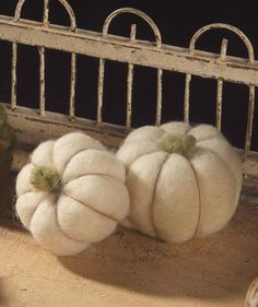 White Wool Pumpkins | Thanksgiving and Halloween Decorations