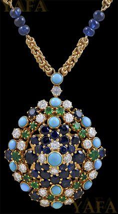 VAN CLEEF & ARPELS Diamond, Emerald, Sapphire and Turquoise Pendant Necklace