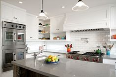 note the beadboard backing in the open cupboards -craftsman kitchen by JWT Associates