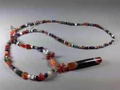 Very-Rare-Ancient-Pyu-or-Tircul-Stone-Bead-Necklace-Chung-Dzi-Natural