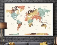 World Map Wall Art, world map push pin, Large watercolor wall art worldmap poster wall decor art print, Living room and office decor (L101)