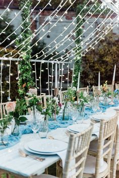 intimate wedding table set up in garden with fairy light canopy over the table. Autumn Wedding, Elegant Wedding, Perfect Wedding, Wedding Canopy, Wedding Shoot, Wedding Ideas, Top Table Ideas, Unique Wedding Stationery, Ribbon Bouquet