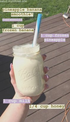 smoothie recipes banana pineapple healthy tasty healthyrecipes is part of Healthy snacks recipes - Easy Smoothie Recipes, Yummy Smoothies, Breakfast Smoothies, Smoothie Drinks, Yummy Drinks, Healthy Drinks, Snack Recipes, Healthy Food, Diet Drinks
