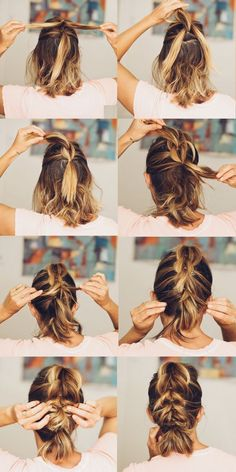 Lob Hairstyle If you have shorter length hair, or kind of suck at braiding your own hair, or have fine hair and a braid makes you look like you have no hair, try a french pull through braid click now for more info. Short Hair Lengths, Short Hair Styles Easy, Medium Hair Styles, Curly Hair Styles, Short Hair Updo Easy, Short Hair Tutorials, How To Style Short Hair, Short Hair Braids Tutorial, Hairstyle Short