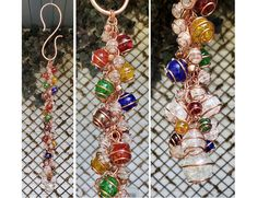 Glass Rainbow Wind Chimes - Copper Art Windchime - Garden Decor - One of a Kind Gift Copper Glass, Copper Art, Fused Glass Art, Stained Glass Art, Dragonfly Decor, Rainbow Garden, Glass Wind Chimes, Garden Gifts, Mother Gifts