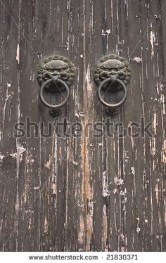 OLD CHINESE DOORS | Old Chinese Door With Two Knockers Stock Photo 21830371  : Shutterstock