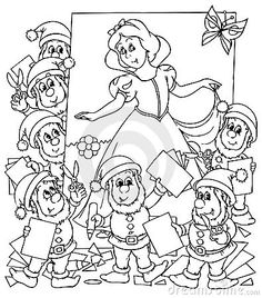 Snow White And Seven Dwarfs Stock Illustration - Illustration of friends, fairy: 15045442 Free Printable Coloring Pages, Coloring Pages For Kids, Coloring Sheets, Coloring Books, Snow White Seven Dwarfs, Traditional Tales, Outline Art, Black And White Illustration, Forest Animals