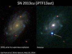 A brilliant supernova (right) explodes in the galaxy UGC located about 360 million light-years from Earth, in this before-and-after view. - Credit: Avishay Gal-Yam, Weizmann Institute of Science Giant Star, Big Star, Cosmos, Space Photography, Star Images, Space Telescope, Space And Astronomy, Light Year, Death Star