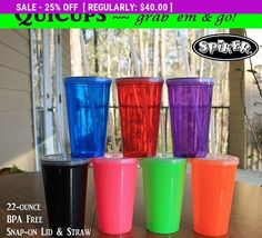 Wholesale Blanks, Quicup Spiker Stadium Cup Lot 10 Blanks,  22oz plastic tumbler, travel cup lid straw, BPA FREE, Party Supplies, Favors
