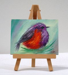 Small bird 3x4 original oil painting ready for by valdasfineart
