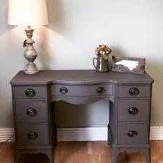 Classic desk in a bl