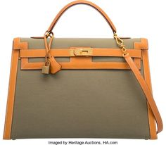 895a3794f8a0 Hermes 40cm Natural Peau Porc Leather   Vert Olive ToileOfficier Canvas  Sellier Kelly Bag with Gold