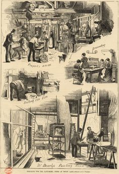 Newspaper illustration showing preparation for the pantomime at Drury Lane Theatre, 'The Publisher' magazine, London, 1874.