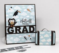 Taylored Expressions - Hats Off to You Grad (close-up) by Michele Boyer* #graduation #graduate #grad #congrats #hatsoff #owl #suitecase #giftgiving #money #handmade #papercrafts #tayloredexpressions