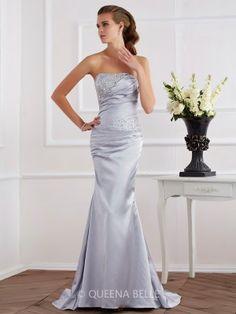 Trumpet/Mermaid Beading Strapless Sleeveless Elastic Woven Satin Dresses - Prom Dresses - Occasion Dresses - QueenaBelle 2017