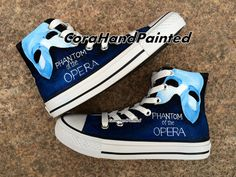 Blue Converse Custom Phantom Of The Opera by CoraHandPainted, $86.99