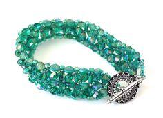 Green Beadwork Bracelet  Bead Weaving  by SRyanJewelryDesigns