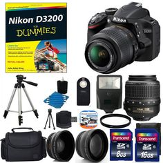 Nikon D3200 Digital SLR DSLR Camera +3 Lens 18-55 VR + 24GB Complete Top New Kit #Nikon