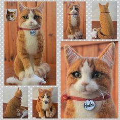 Custom Needle Felted Cat Sculpture Memory Pet by WoolArtToys