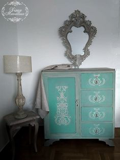 I was asked to transform a chest of drawers and a mirror.I used Annie Sloan chalk paint (colour choice of the owner), and a raised stencil that I created with stucco and atlacol. Annie Sloan Chalk Paint Furniture, Annie Sloan Chalk Paint Colors, Painted Furniture, Green Chest Of Drawers, Stencil, Colour, Mirror, Storage, Color