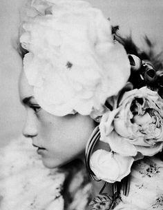 black; white; female; face; profile; flowers