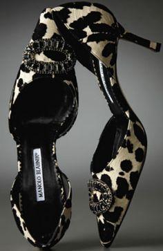 Manolo Blahnik's Velvet & Snake D'Orsay pump 2011