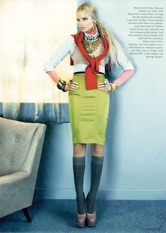 Natasha Poly for i-D Magazine, #292 October 2008. Photographer Emma Summerton. Fashion Director Edward Enninful via noirfacade