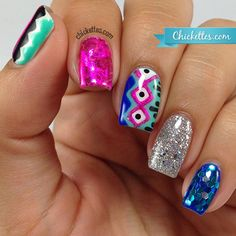 Chickettes.com - Freehand nail art with foils and glitter for Cosmoprof NA