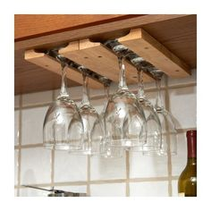 Fox Run Craftsmen Wood Hanging Wine Glass Rack